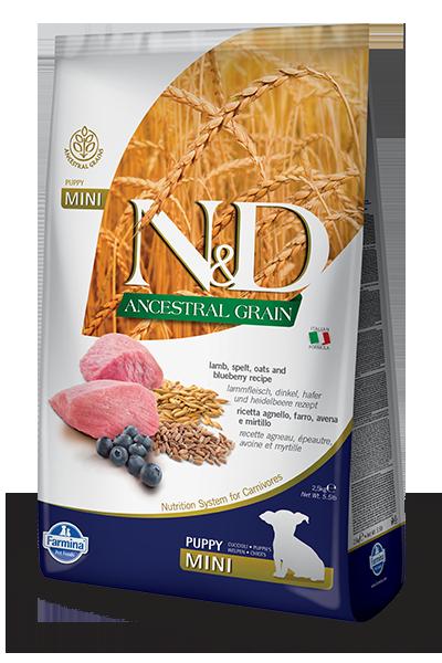 Farmina N&D Ancestral Grain Lamb & Blueberry Mini Puppy Dry Dog Food, 5.5-lb (Size: 5.5-lb) Image