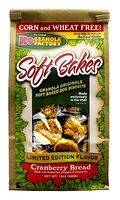 K9 Granola Factory Soft Bakes Cranberry Bread Dog Treats, 12-oz