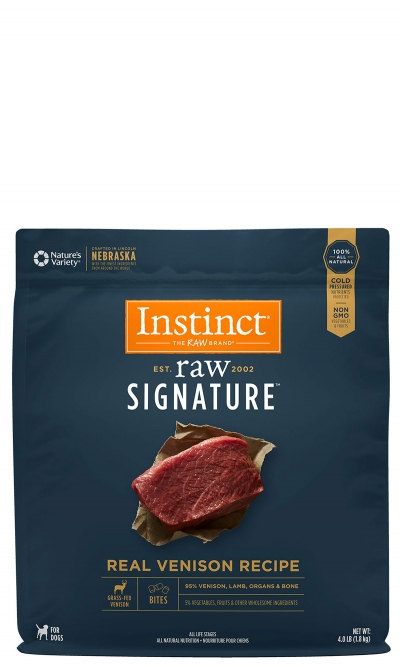 Instinct by Nature's Variety Raw Signature Real Venison Bites Frozen Dog Food, 4-lb (Size: 4-lb) Image