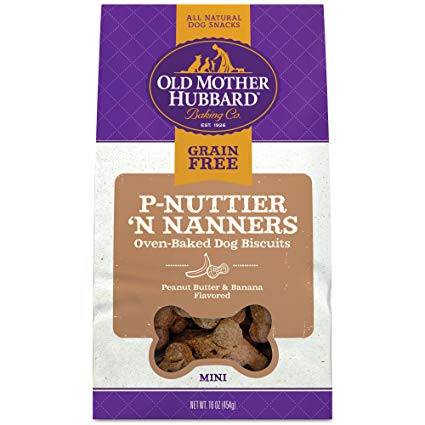 Old Mother Hubbard Mini P-Nuttier 'N Nanners Grain-Free Biscuits Baked Dog Treats, 16-oz