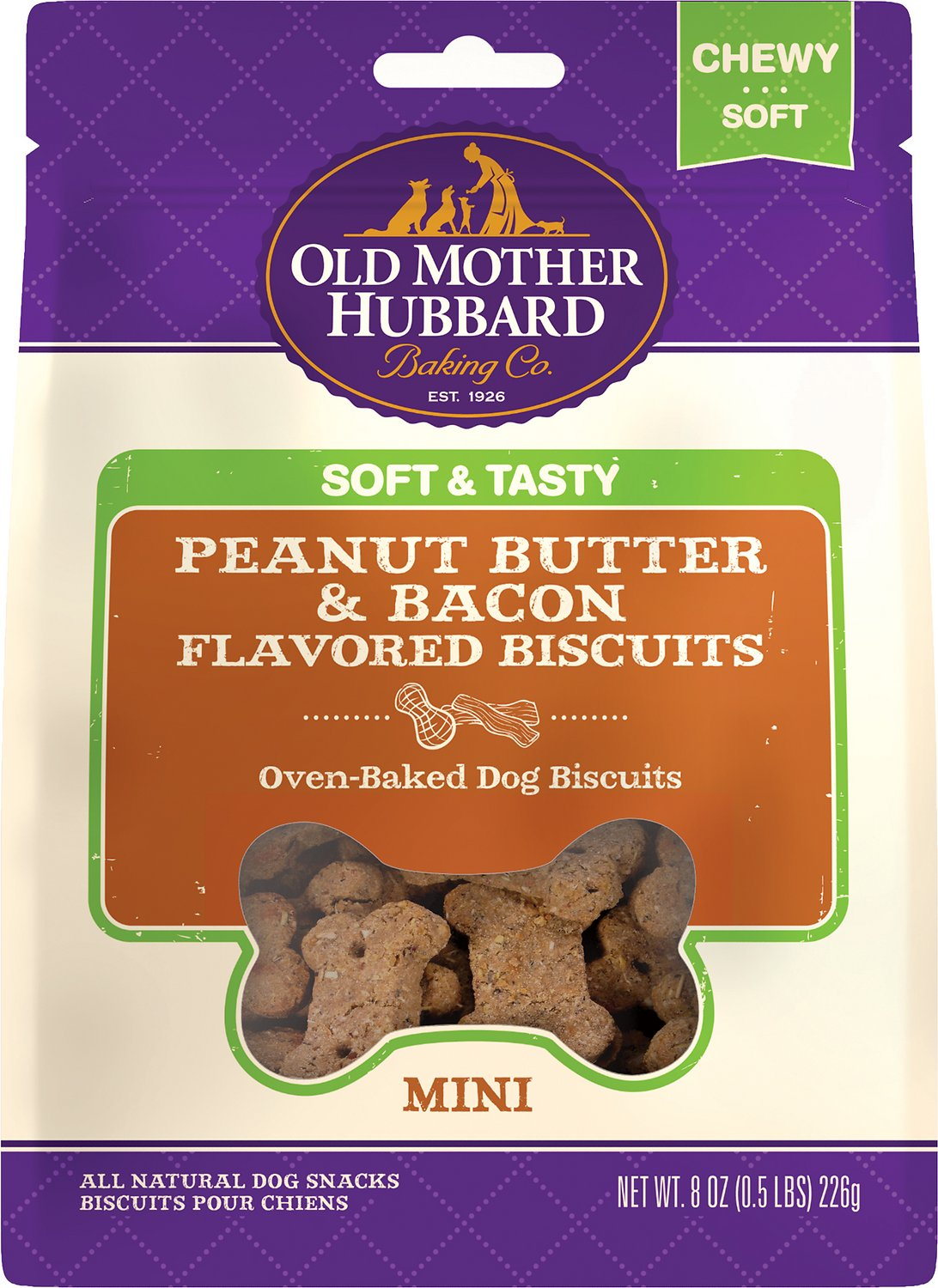 Old Mother Hubbard Mini Soft & Tasty Peanut Butter & Bacon Flavor Baked Biscuit Dog Treats, 8-oz (Size: 8-oz) Image