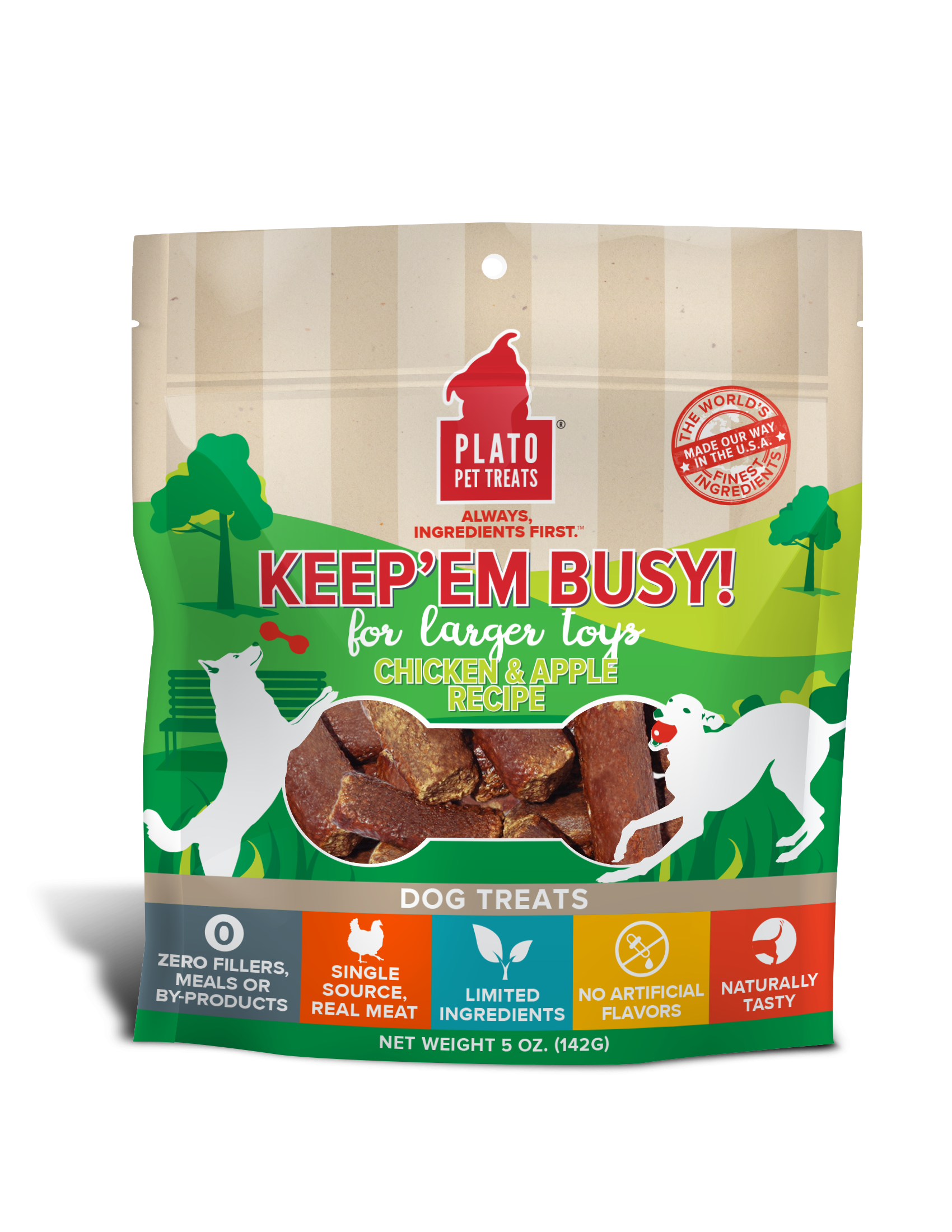 Plato Pet Treats Keep Em' Busy! Chicken & Apple Recipe Large Toy Stuffer Dog Treats, 5-oz (Size: 5-oz) Image