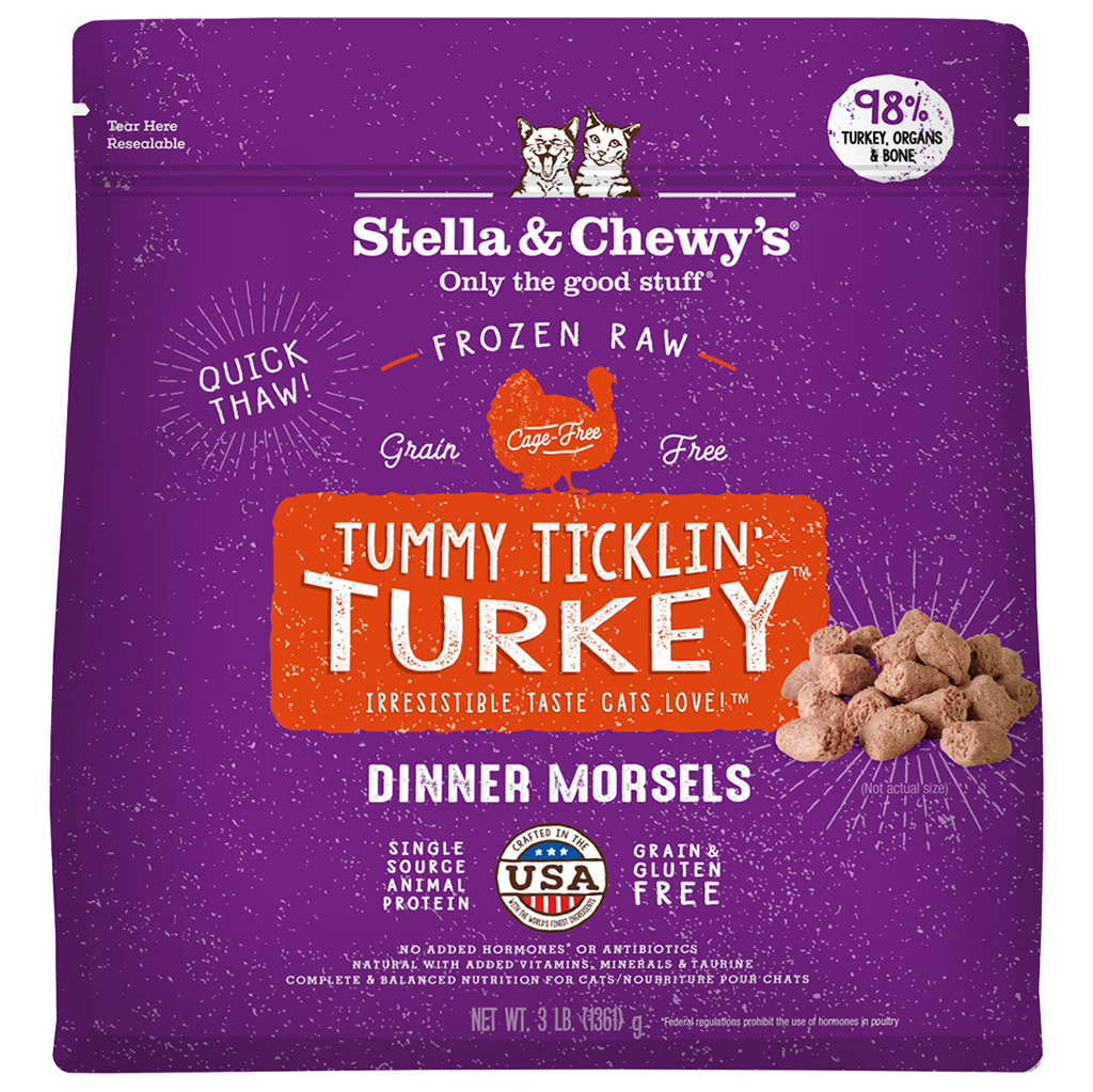 Stella & Chewy's Tummy Ticklin' Turkey Dinner Morsels Cat Frozen Food, 3-lb