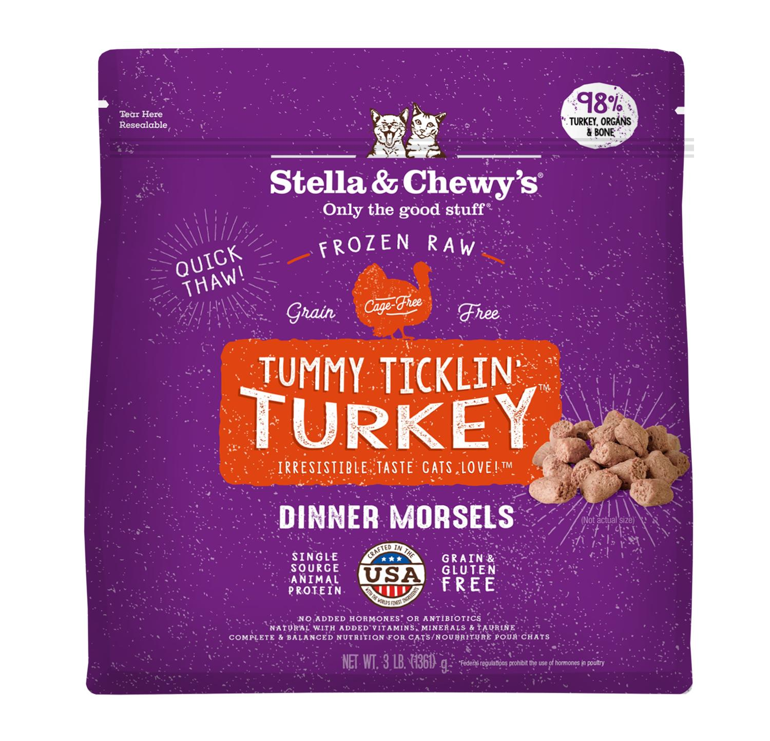 Stella & Chewy's Tummy Ticklin' Turkey Dinner Morsels Frozen Cat Food, 3-lb