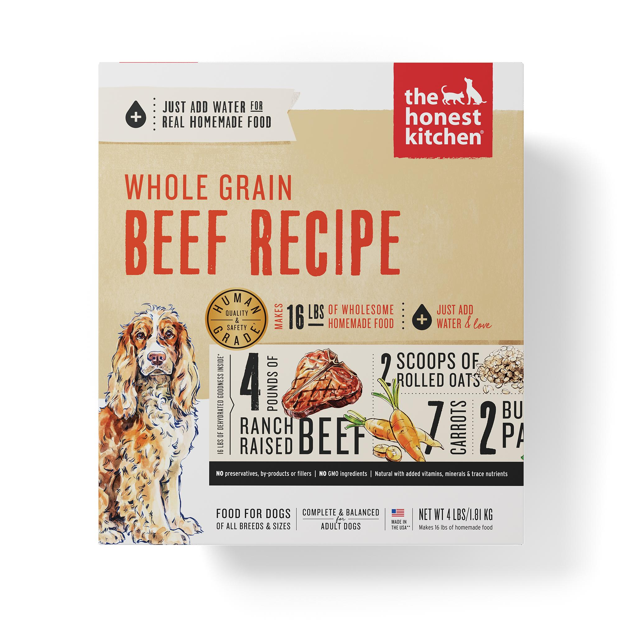 The Honest Kitchen Whole Grain Beef Recipe Dehydrated Dog Food, 4-lb box