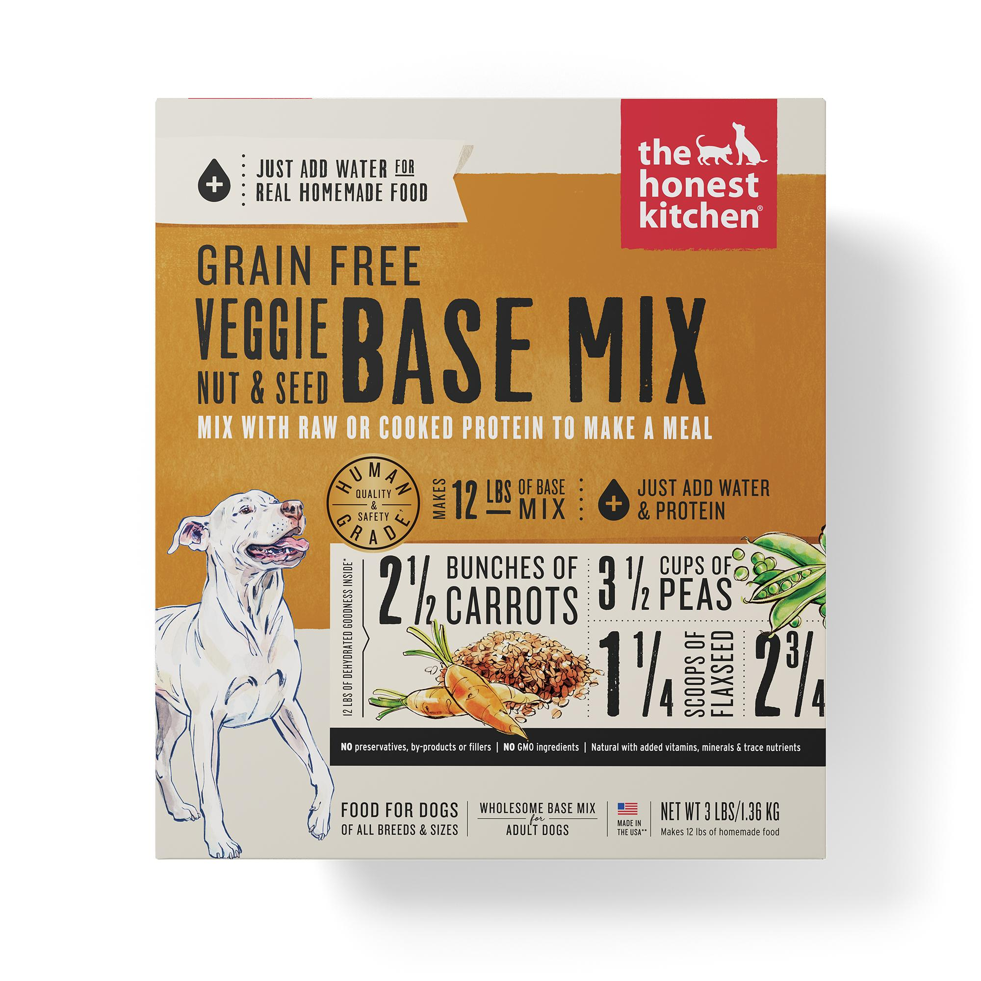 The Honest Kitchen Veggie, Nut & Seed Base Mix Grain-Free Dehydrated Dog Food, 3-lb box