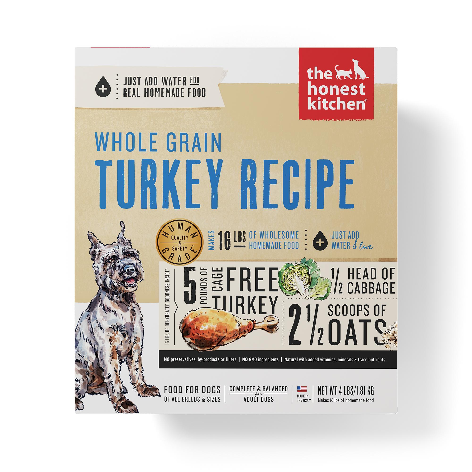 The Honest Kitchen Whole Grain Turkey Recipe Dehydrated Dog Food, 4-lb box