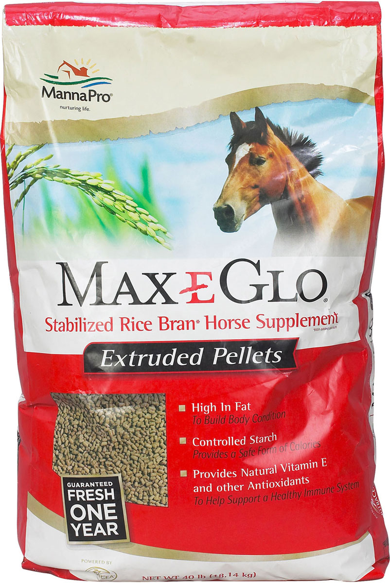 Manna Pro Max-E Glow Stabilized Rice Bran Pellet Horse Supplement, 40-lb