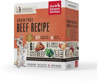 The Honest Kitchen Grain-Free Beef Recipe Dehydrated Dog Food, 4-lb box