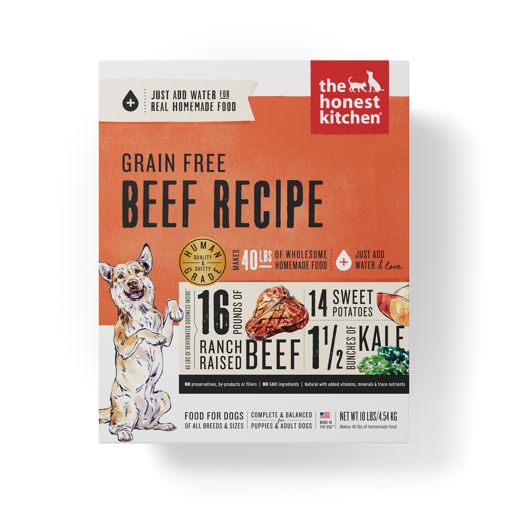 The Honest Kitchen Beef Recipe Grain-Free Dehydrated Dog Food, 10-lb box