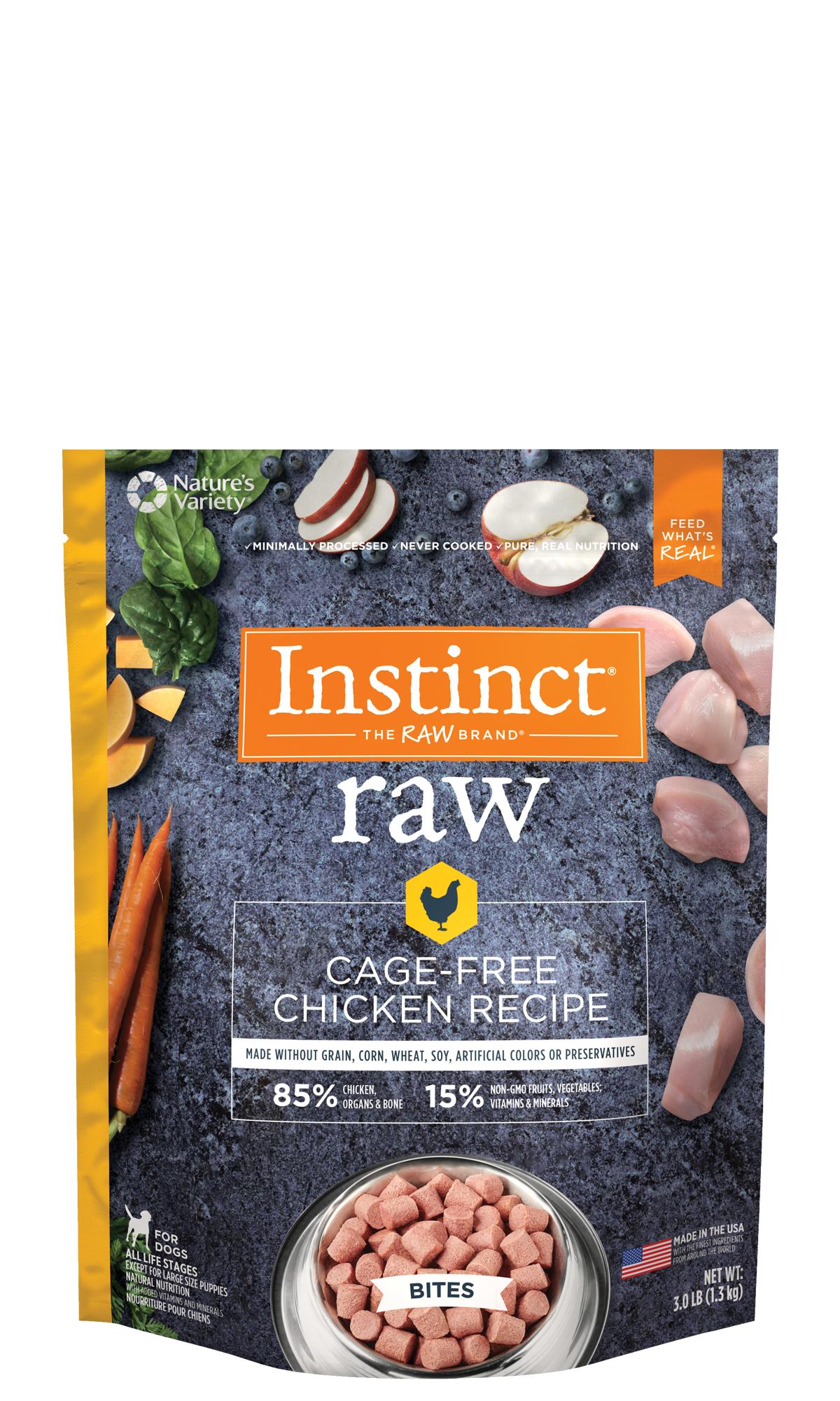 Instinct by Nature's Variety Raw Grain-Free Chicken Bites Raw Frozen Dog Food, 6-lb
