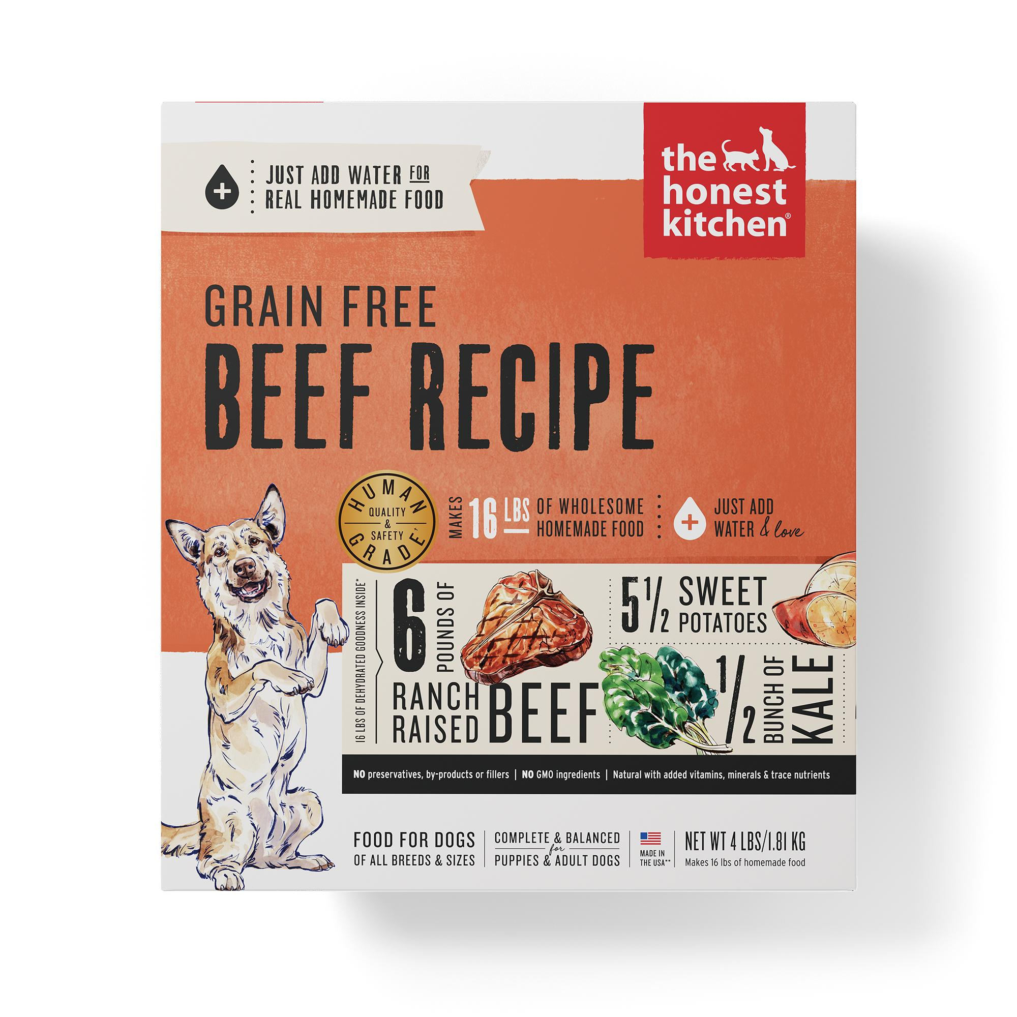 The Honest Kitchen Beef Recipe Grain-Free Dehydrated Dog Food, 4-lb box