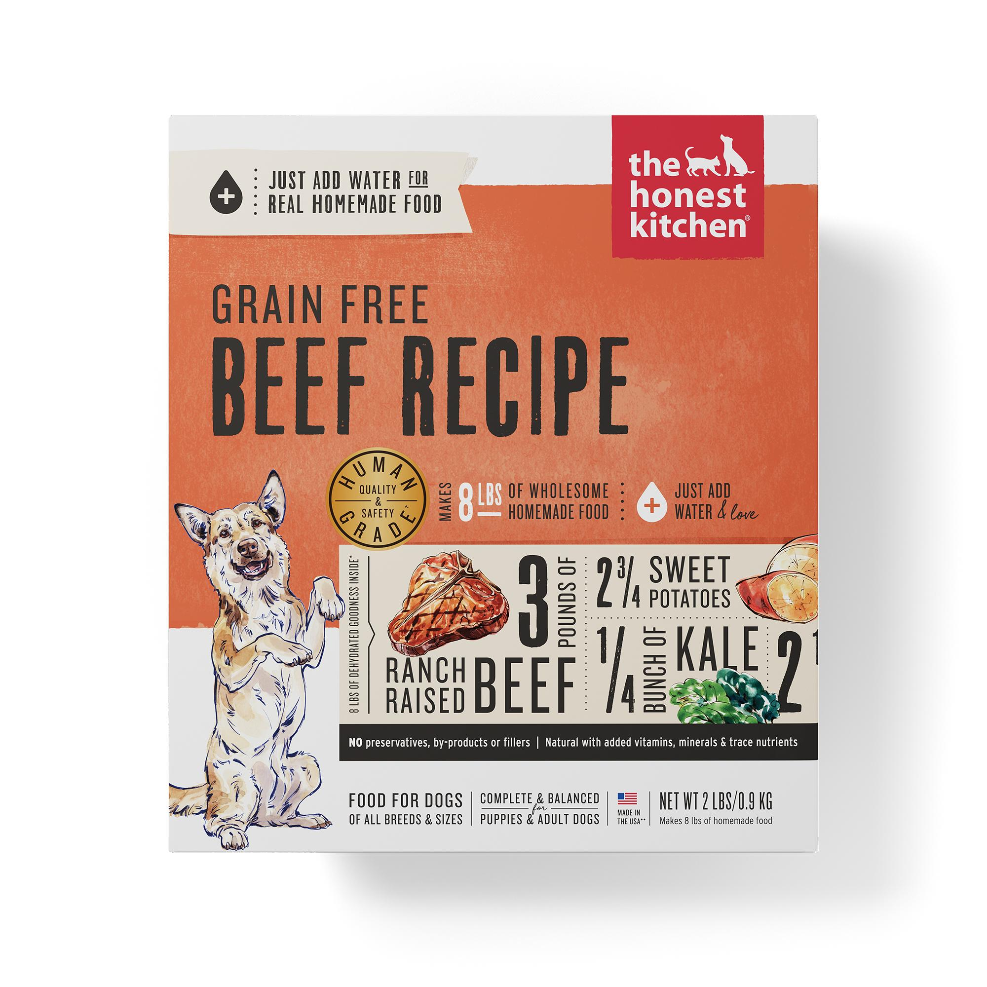 The Honest Kitchen Beef Recipe Grain-Free Dehydrated Dog Food, 2-lb box