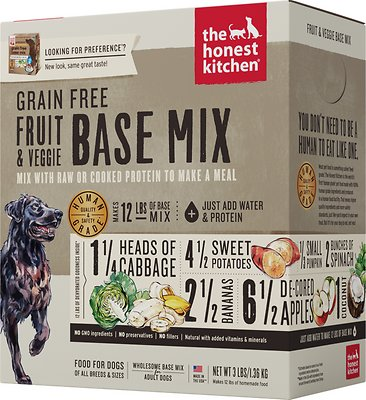 The Honest Kitchen Grain-Free Fruit & Veggie Dehydrated Dog Base Mix, 3-lb box