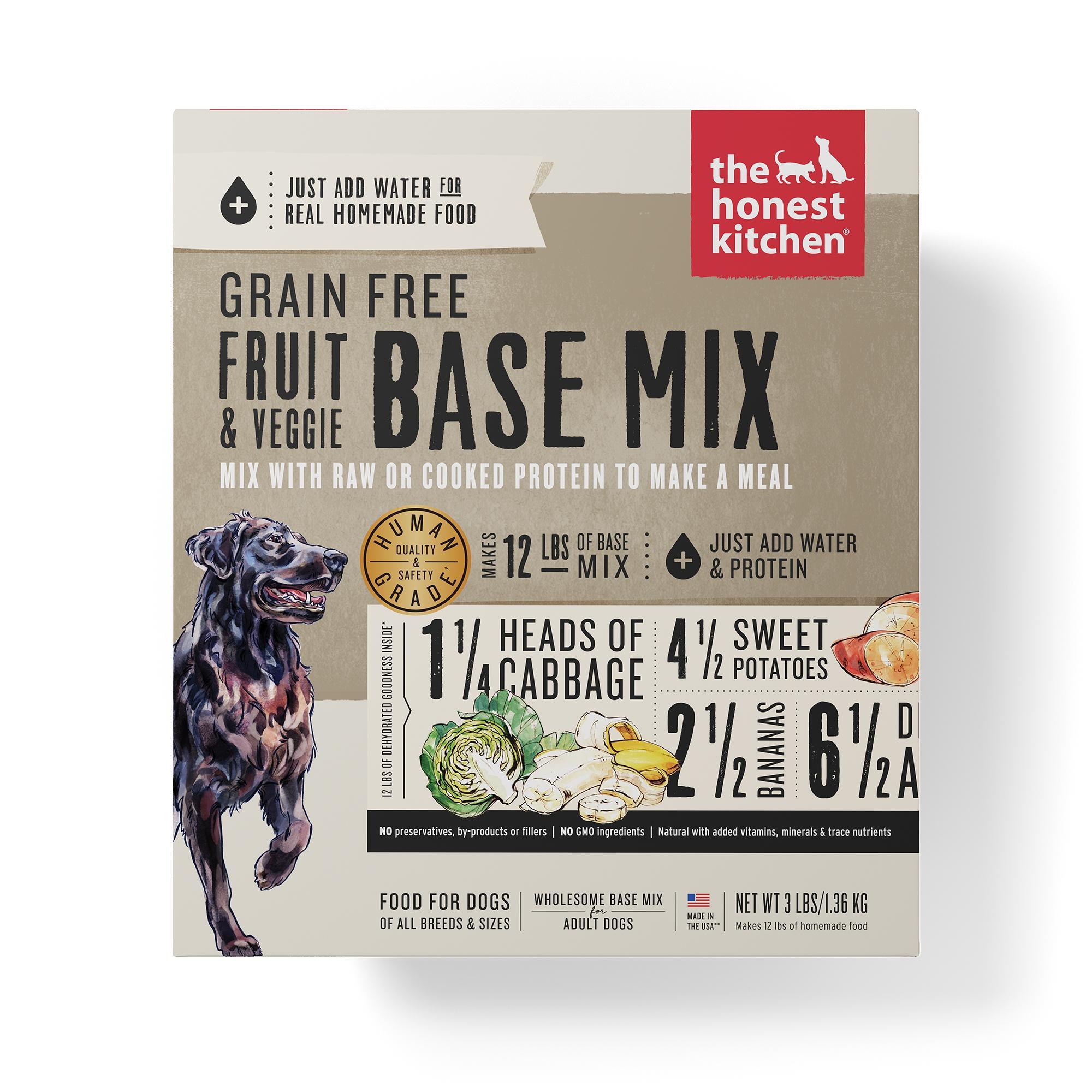 The Honest Kitchen Fruit & Veggie Base Mix Grain-Free Dehydrated Dog Food, 3-lb box