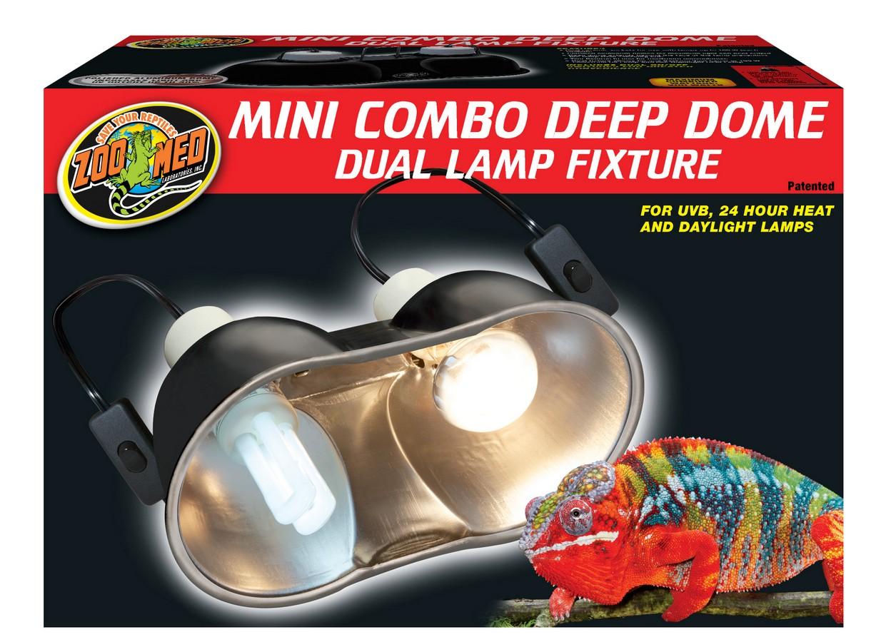 Zoo Med Combo Deep Dome Dual Reptile Lamp Fixture, Mini