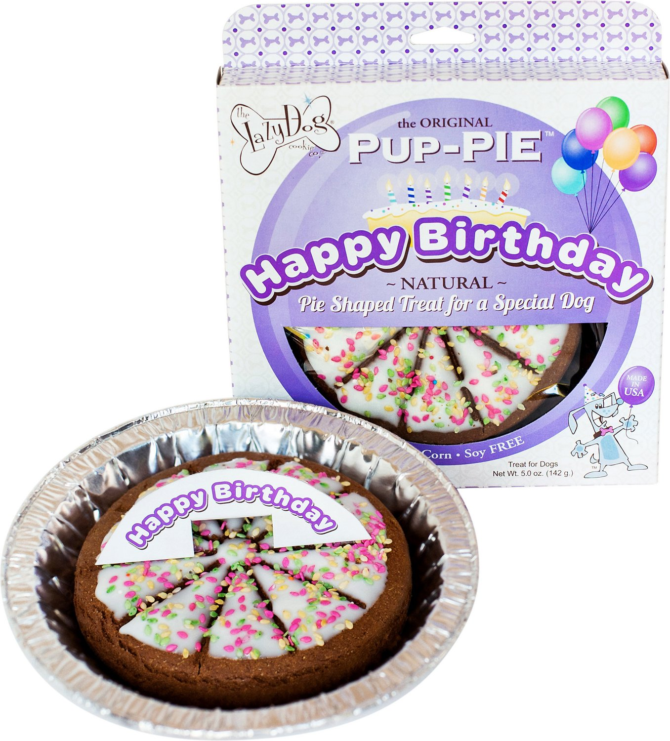 The Lazy Dog Cookie Co. Happy Birthday Pup-PIE Dog Treat, Unisex