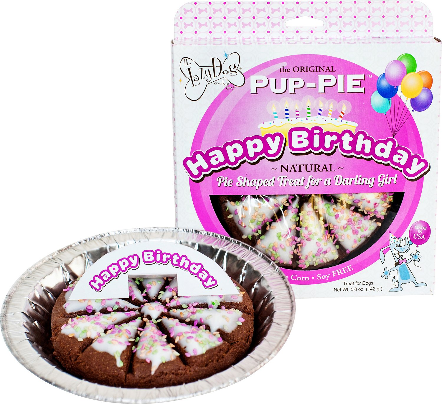 The Lazy Dog Cookie Co. Happy Birthday Pup-PIE Dog Treat, Girl (Weights: 5ounces) Image