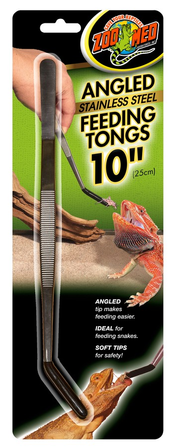 Zoo Med Angled Stainless Steel Feeding Tongs, 10-in
