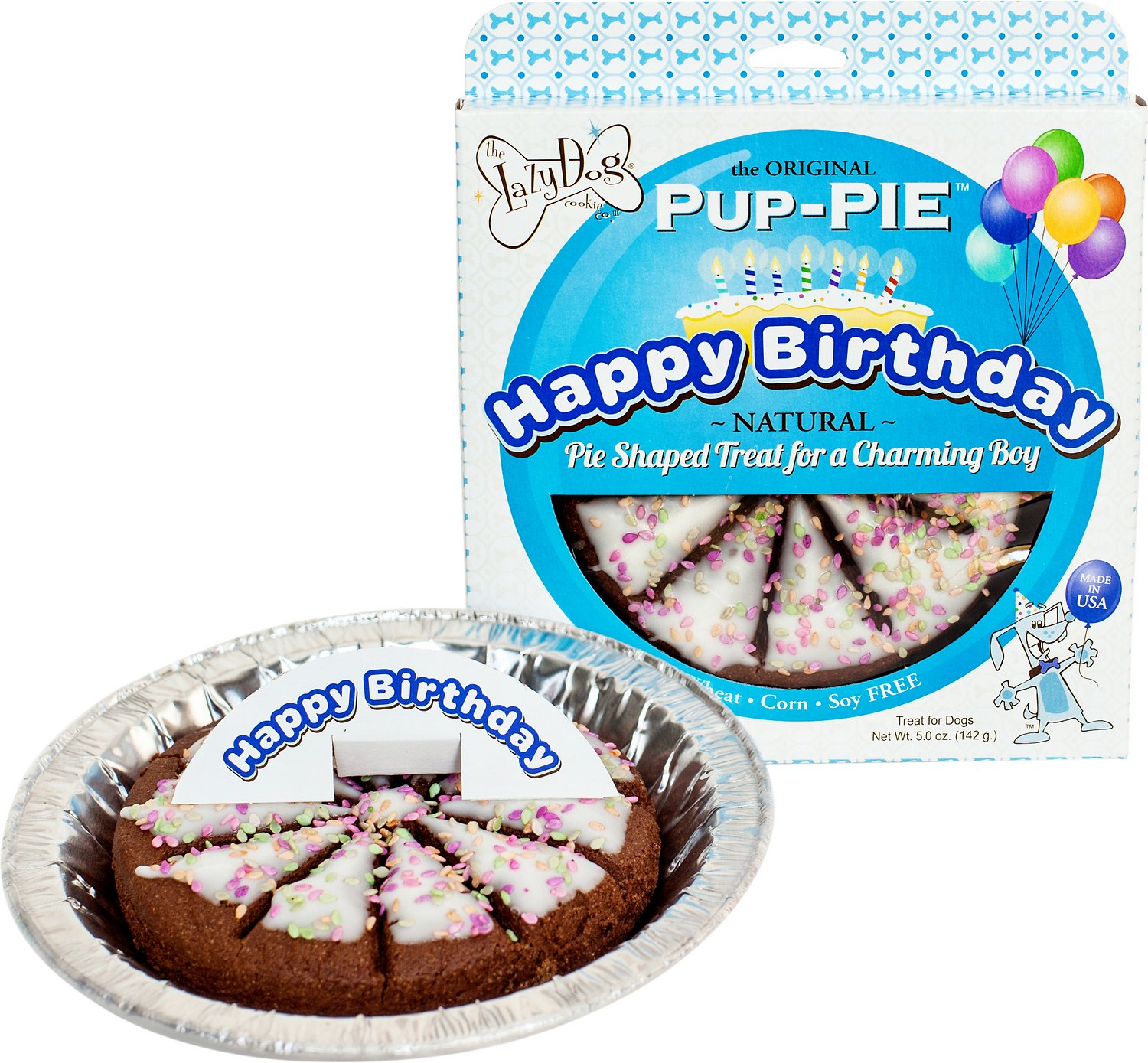 The Lazy Dog Cookie Co. Happy Birthday Pup-PIE Dog Treat, Boy (Weights: 5ounces) Image