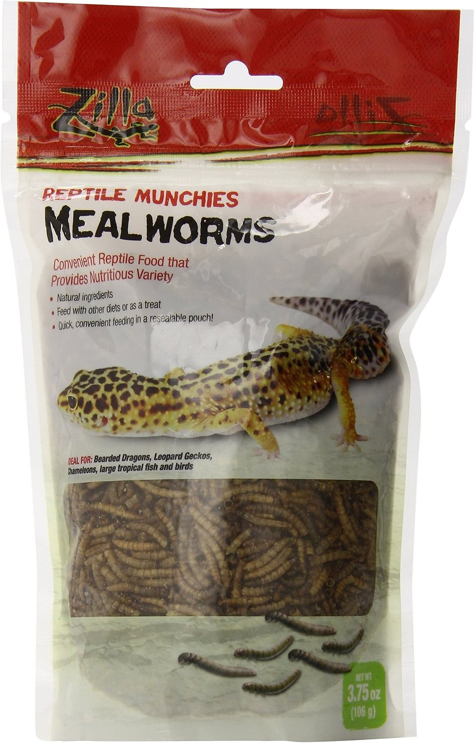Zilla Reptile Munchies Mealworms Lizard Food, 3.75-oz bag