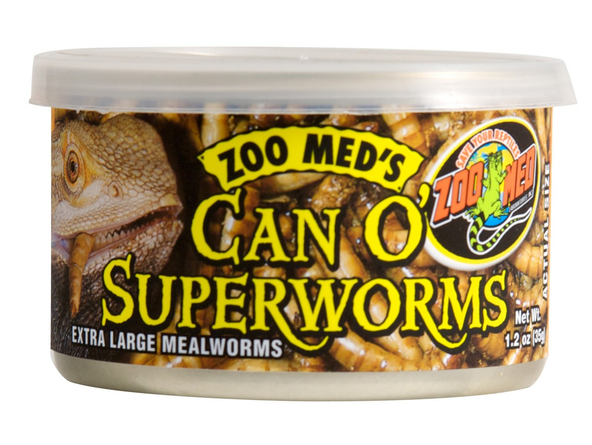 Zoo Med Can O' Superworms Extra Large Meal Worms Lizard Food, 1.75-oz