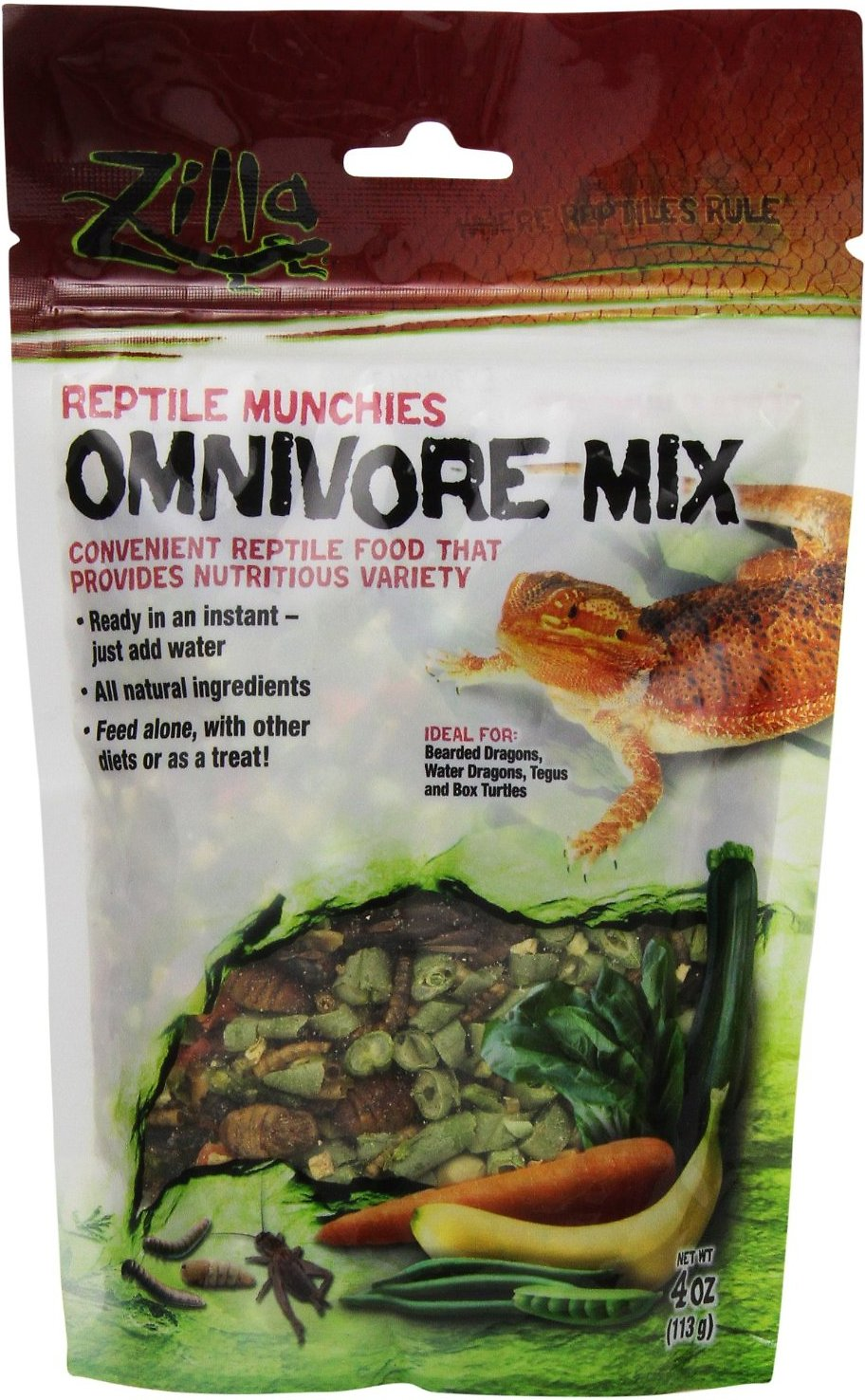 Zilla Reptile Munchies Omnivore Mix Lizard Food, 4-oz bag