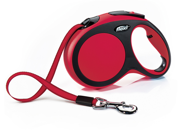 Flexi New Comfort Retractable Tape Dog Leash, Red, Large, 16-ft