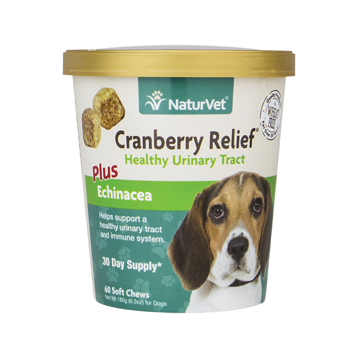 NaturVet Cranberry Relief Plus Echinacea Soft Chews for Dogs, 60-count