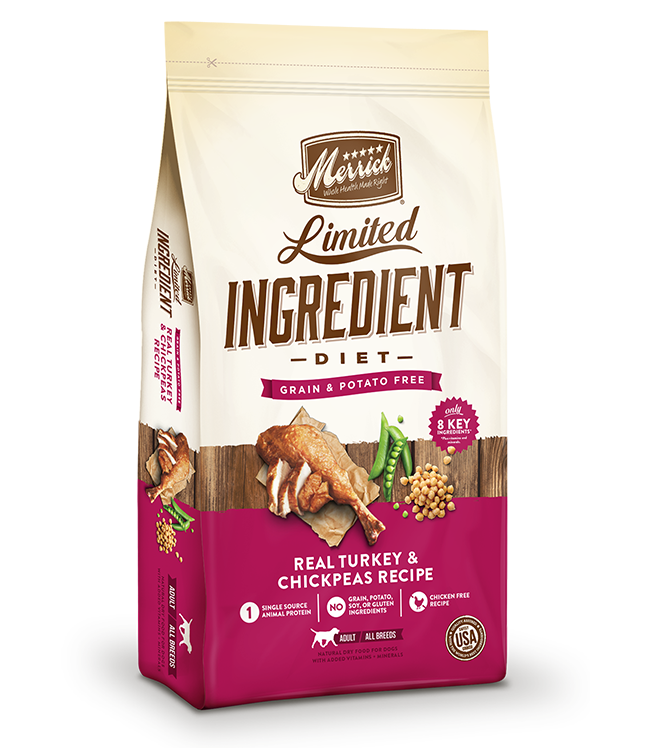 Merrick Limited Ingredient Diet Grain Free, Real Turkey + Chickpeas Recipe, Dry Dog Food, 4-lb bag