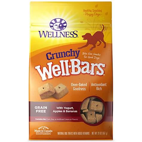 Wellness Crunchy WellBars Yogurt, Apples & Bananas Baked Grain-Free Dog Treats, 20-oz bag