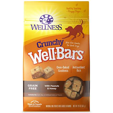 Wellness WellBars Crunchy Peanuts & Honey Baked Dog Treats, 20-oz