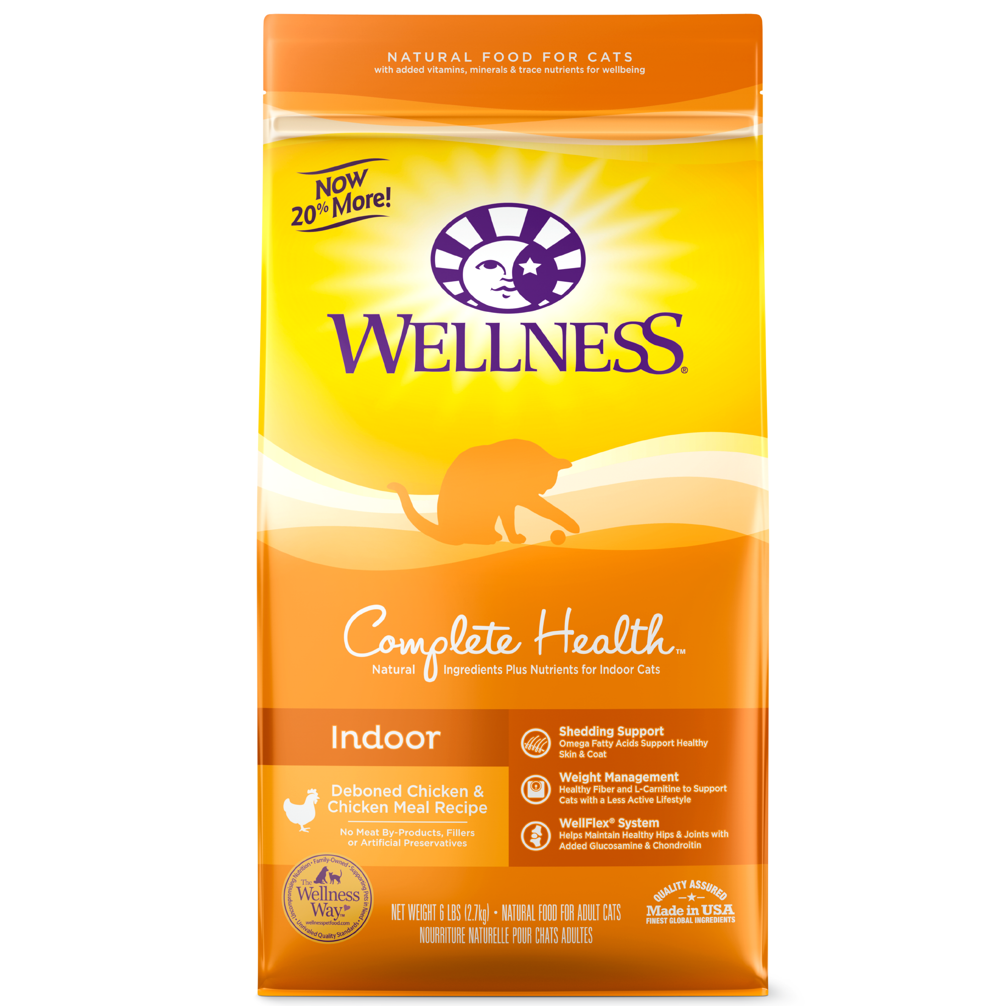 Wellness Complete Health Indoor, Deboned Chicken & Chicken Meal Recipe Dry Cat Food, 2.5-lb bag