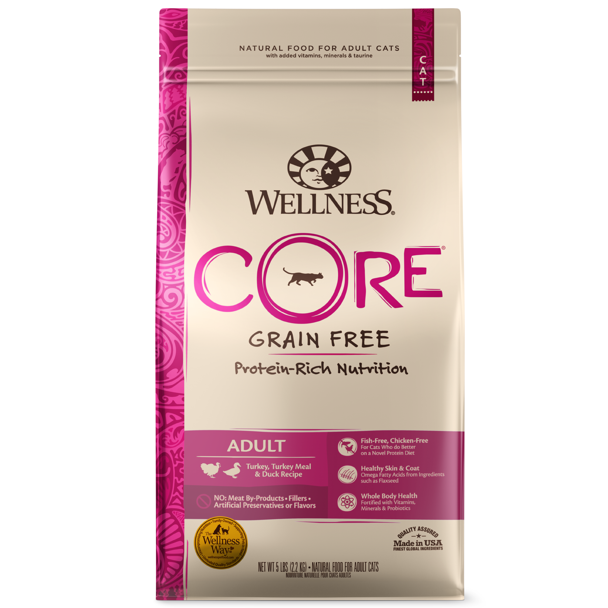 Wellness CORE Grain-Free Turkey, Turkey Meal & Duck Formula Dry Cat Food, 11-lb bag
