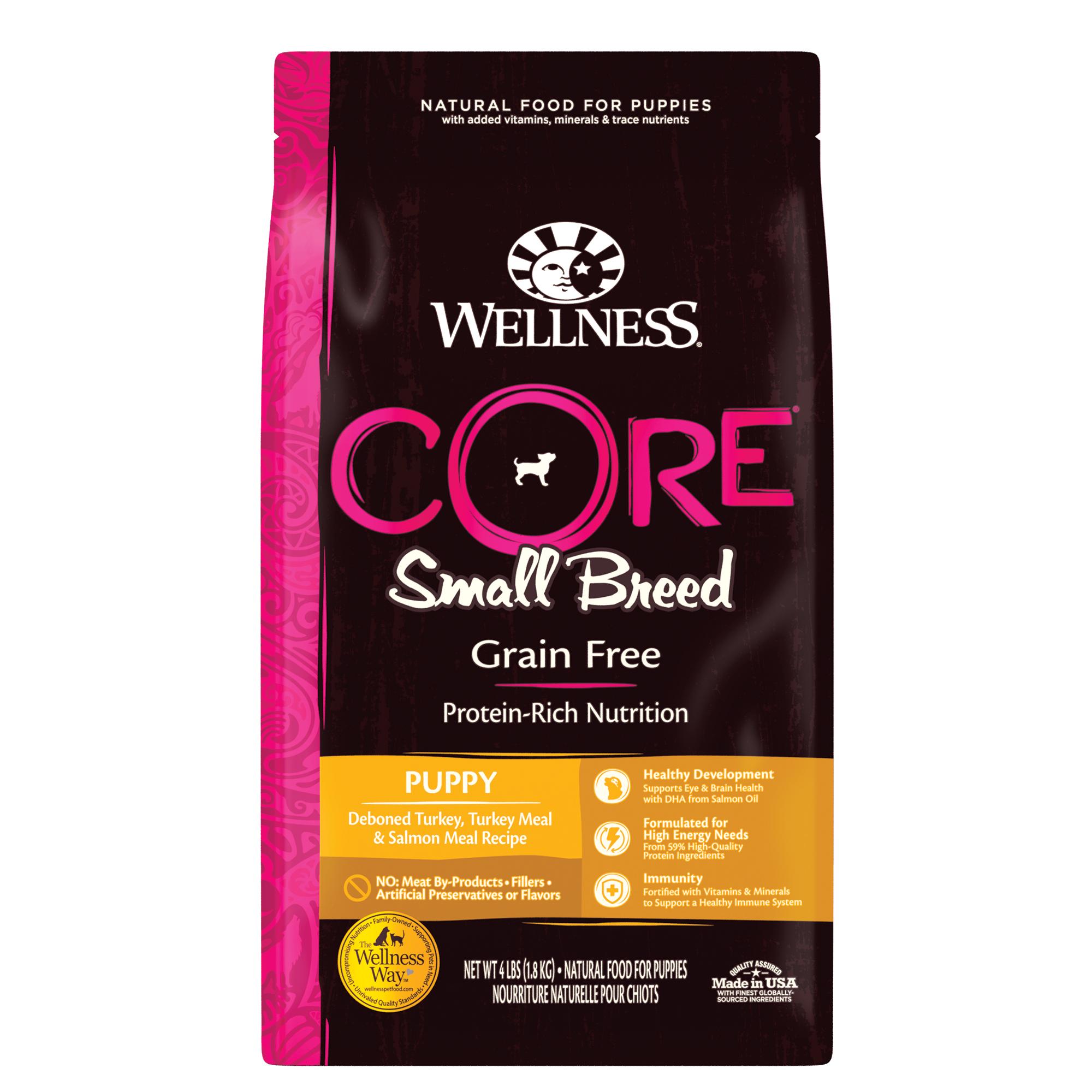 Wellness CORE Grain-Free Small Breed Puppy Turkey & Salmon Dry Dog Food, 4-lb