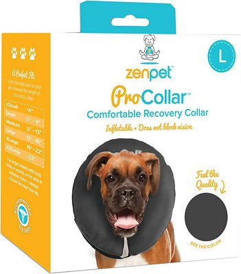 ZenPet ZenCollar Inflatable Recovery Dog & Cat Collar, Large
