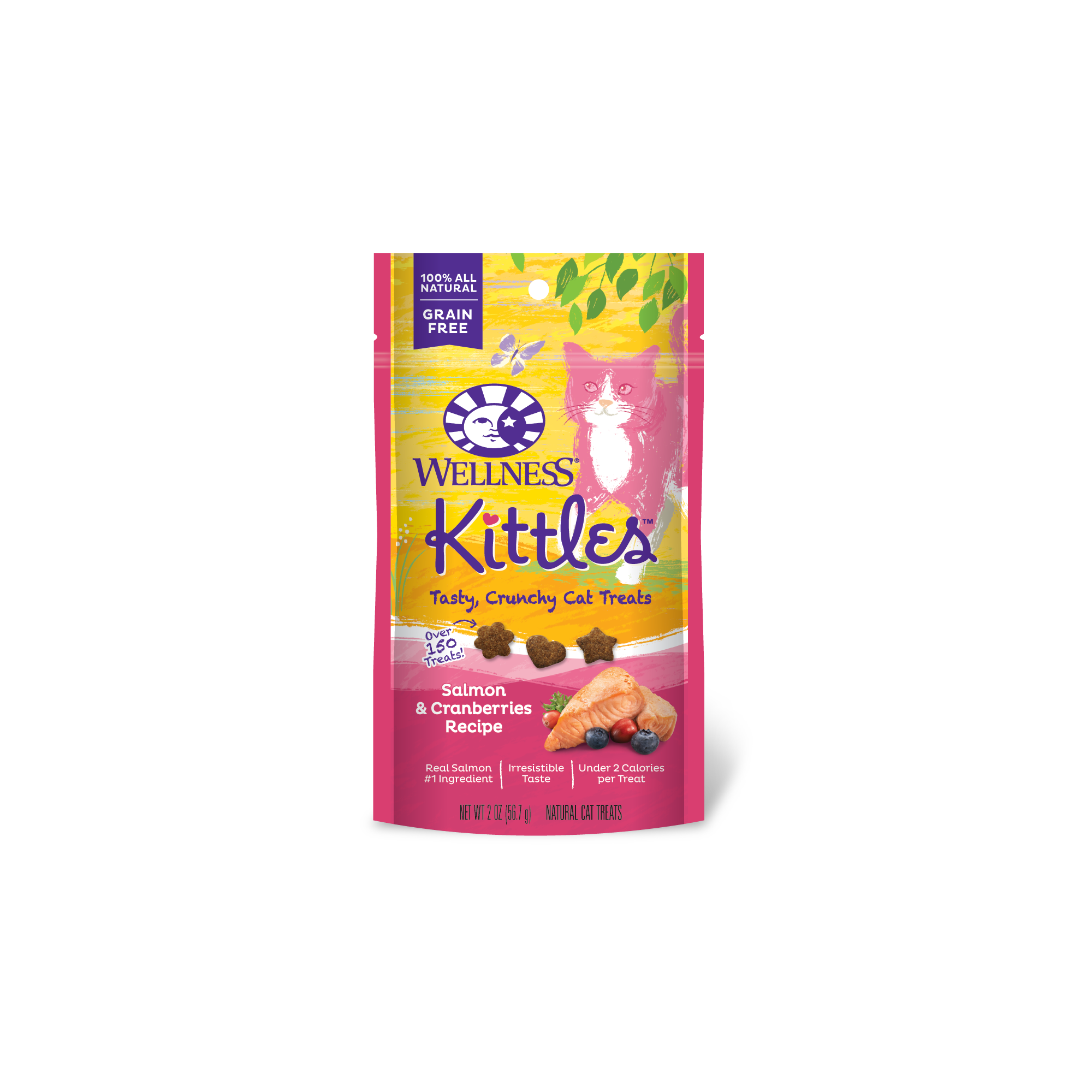 Wellness Kittles Grain-Free Salmon & Cranberries Crunchy Cat Treats, Wet Cat Food, 6-oz