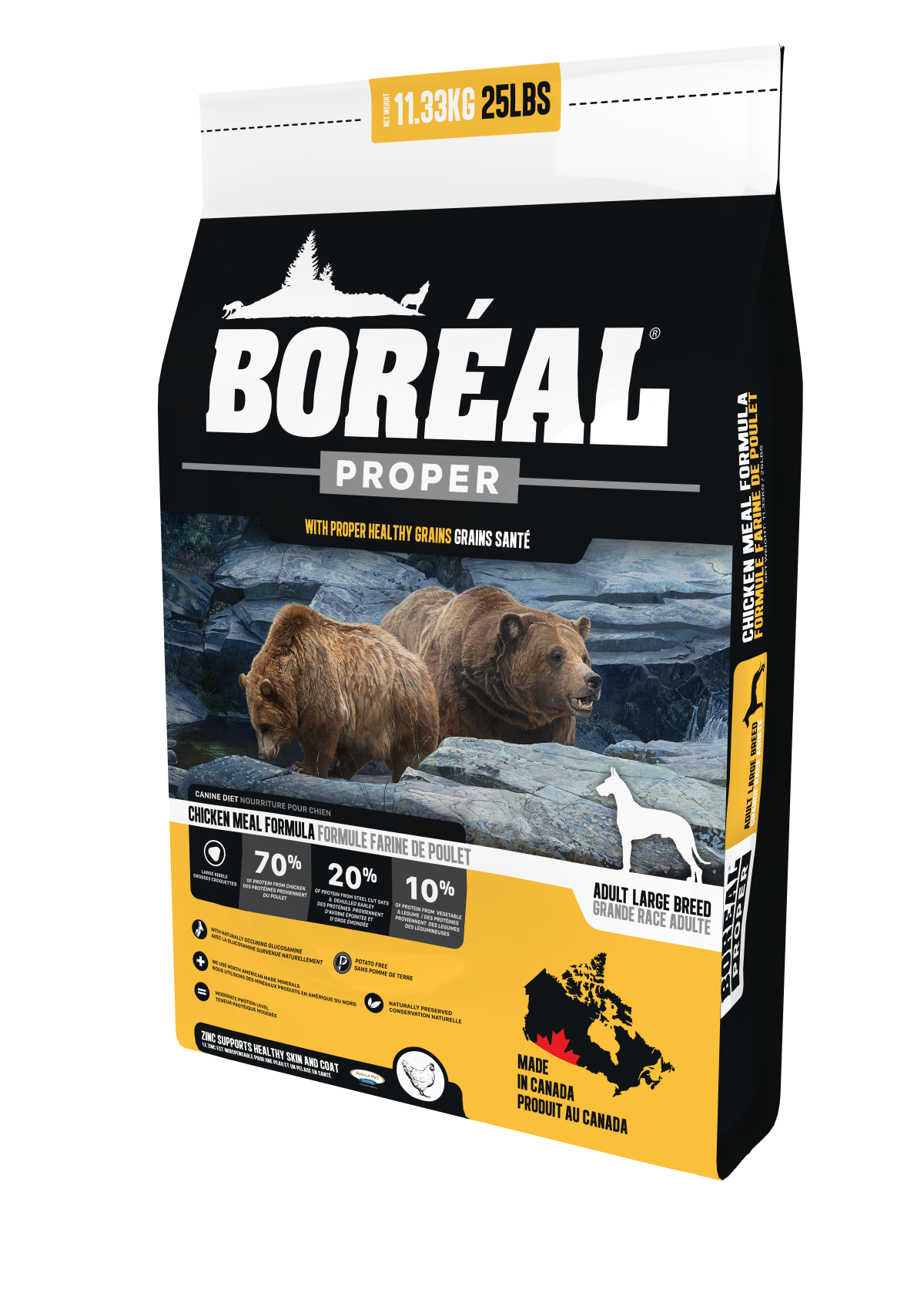 Boreal Proper Large Breed Chicken Meal - Low Carb Grains Dry Dog Food, 11.33kg bag