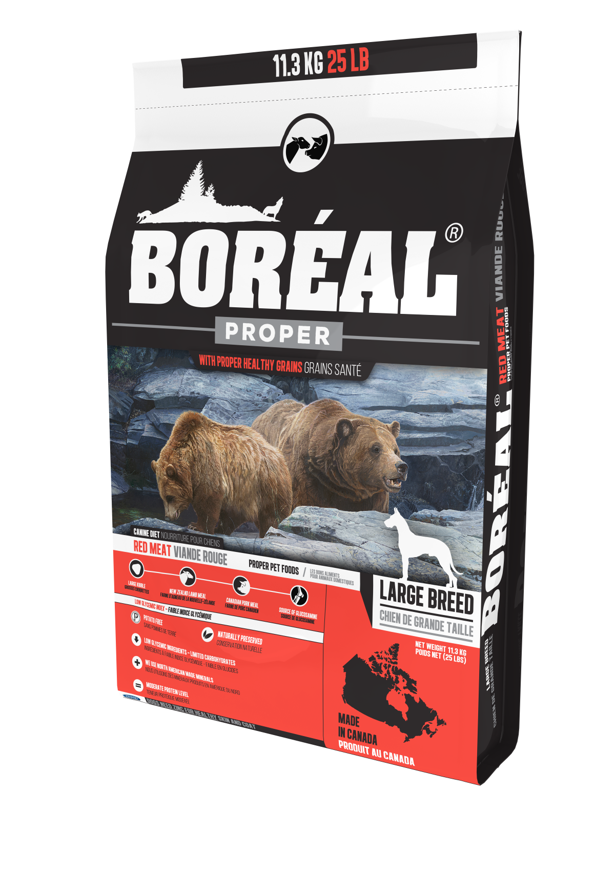 Boreal Proper Large Breed Red Meat - Low Carb Grains Dry Dog Food, 11.33kg bag