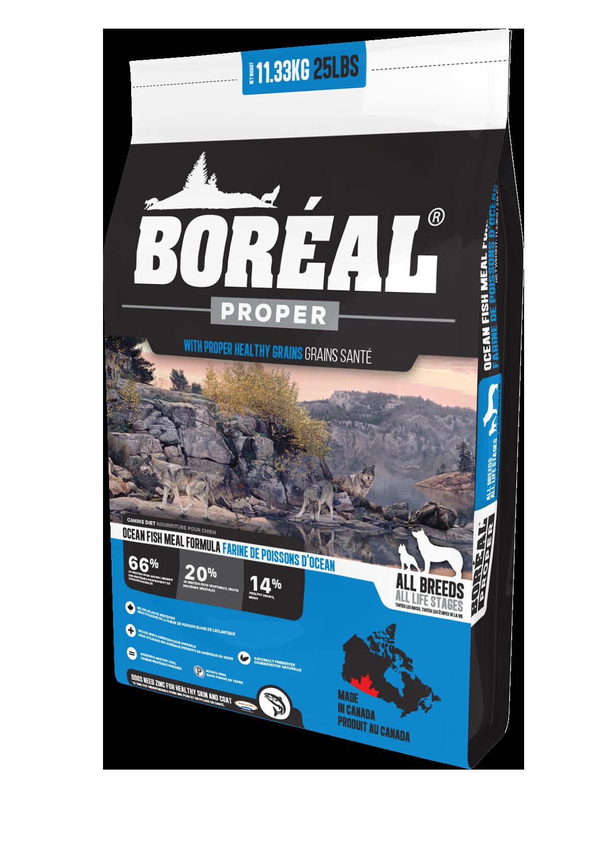 Boreal Proper Ocean Fish Meal - Low Carb Grains Dry Dog Food, 11.33kg bag
