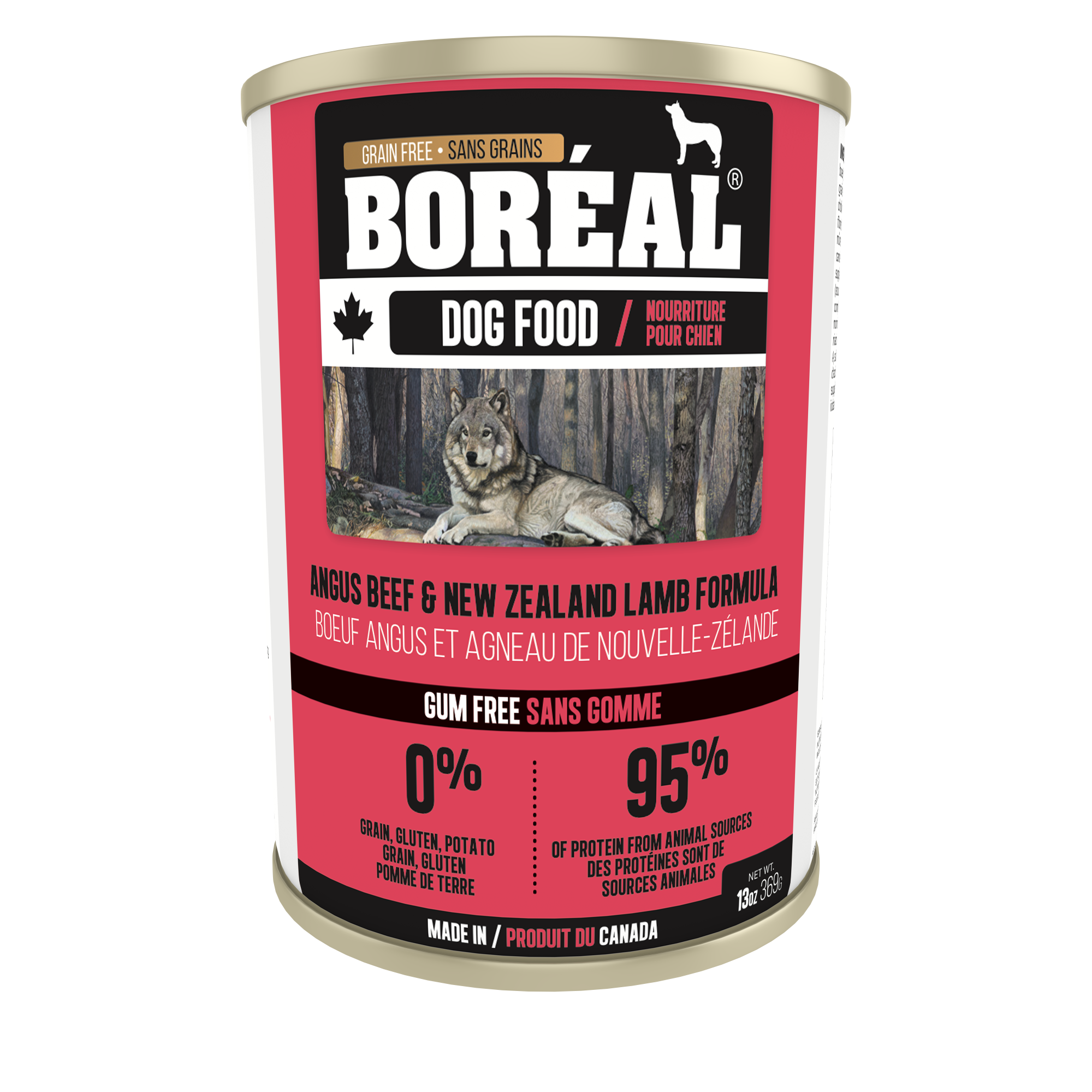Boreal Grain-Free Canadian Angus Beef and New Zealand Lamb Formula Canned Dog Food, 369g can