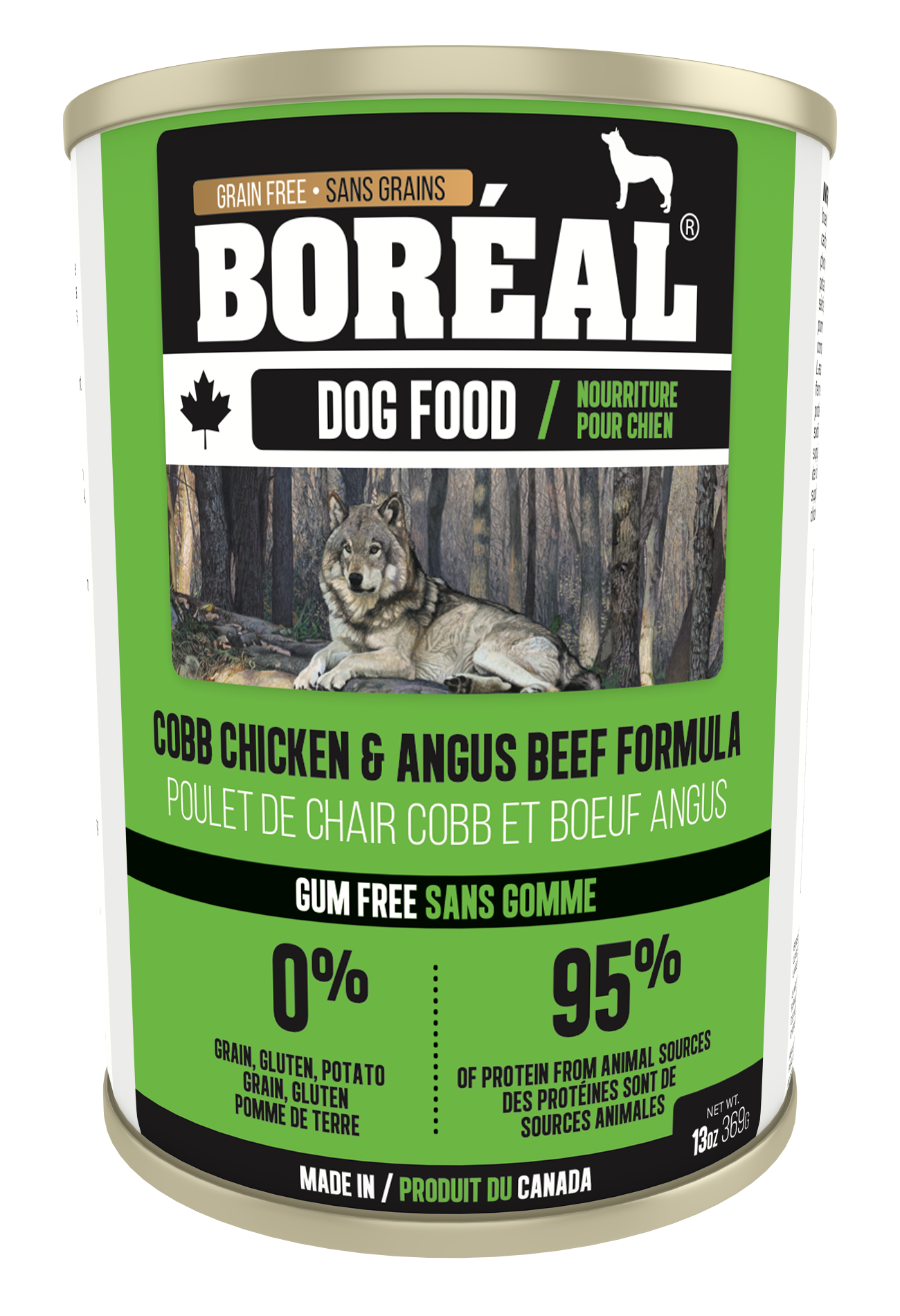 Boreal Grain-Free Canadian Cobb Chicken and Angus Beef Canned Dog Food, 369g can