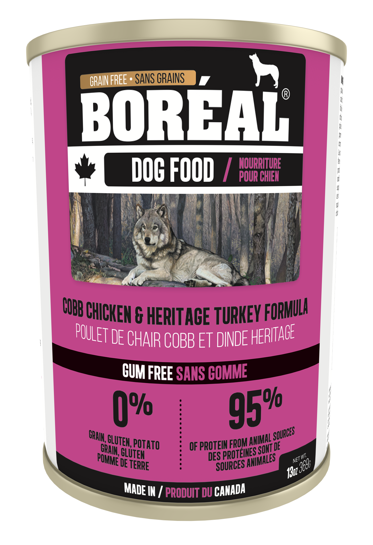 Boreal Grain-Free Canadian Cobb Chicken and Heritage Turkey Canned Dog Food, 369g can