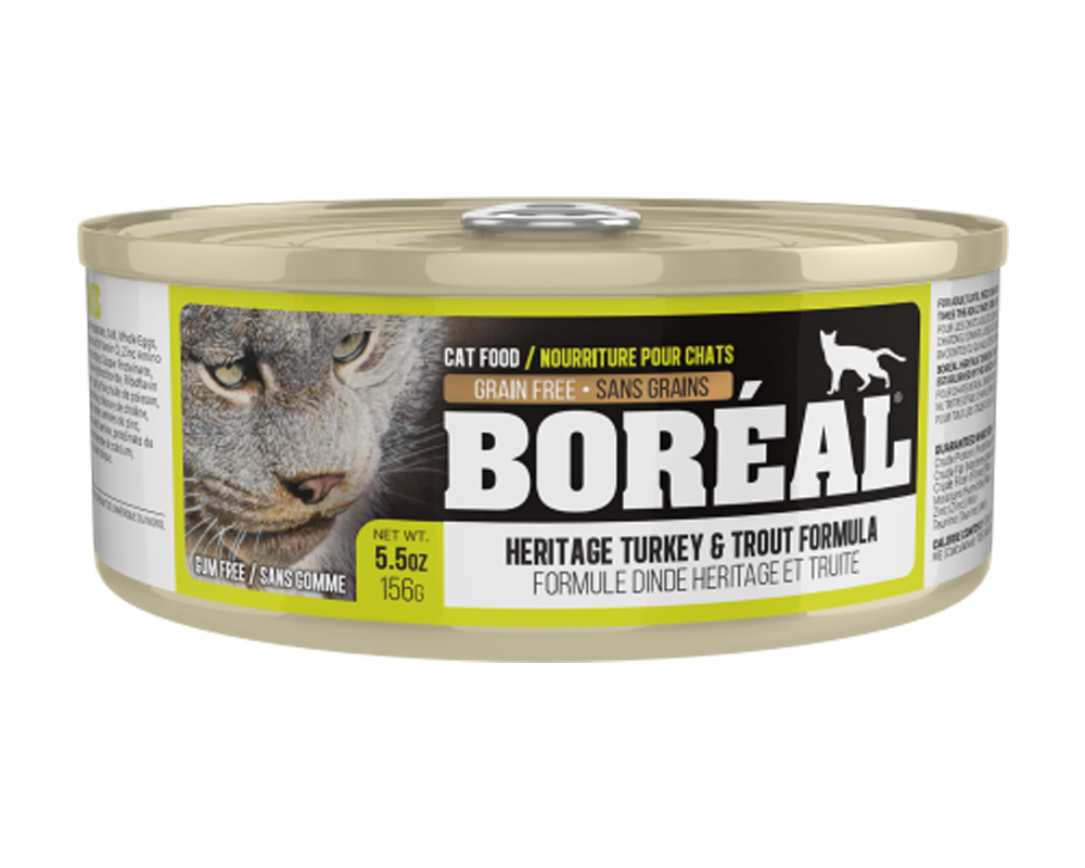 Boreal Heritage Turkey & Trout Grain-Free Canned Cat Food, 156g can