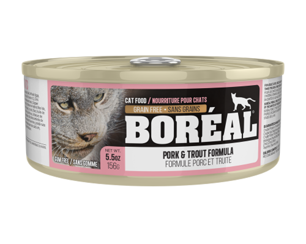 Boreal Pork and Trout Grain-Free Canned Cat Food, 156g can