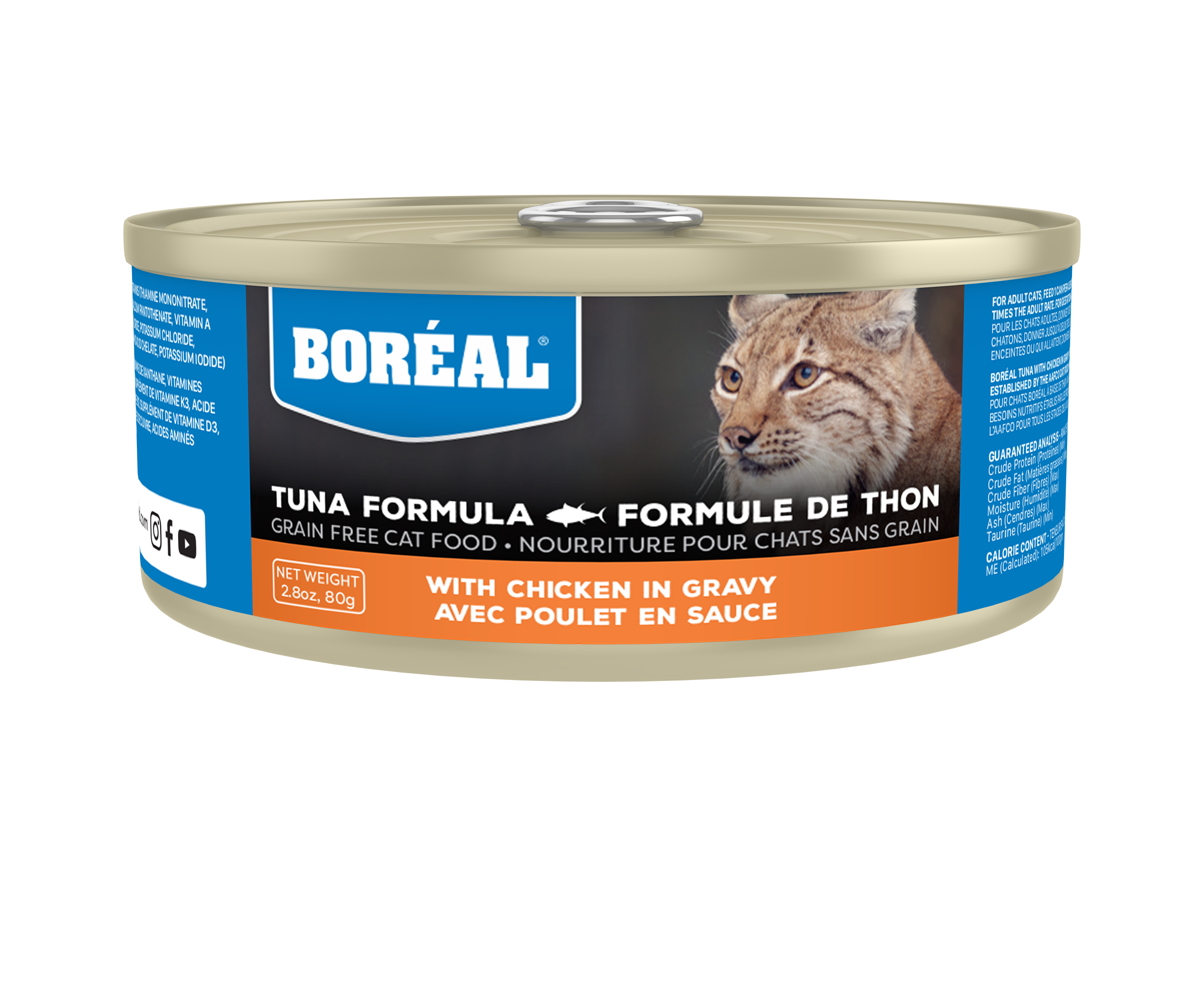 Boreal Red Tuna With Chicken in Gravy Grain-Free Canned Cat Food, 156-gram