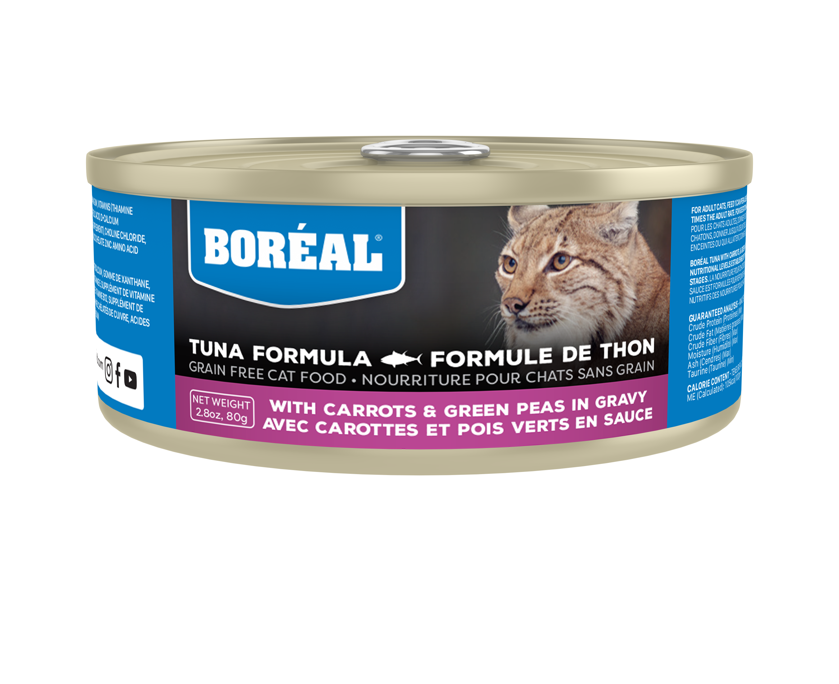 Boreal Red Tuna, Carrot & Green Pea in Gravy Grain-Free Canned Cat Food, 156-gram