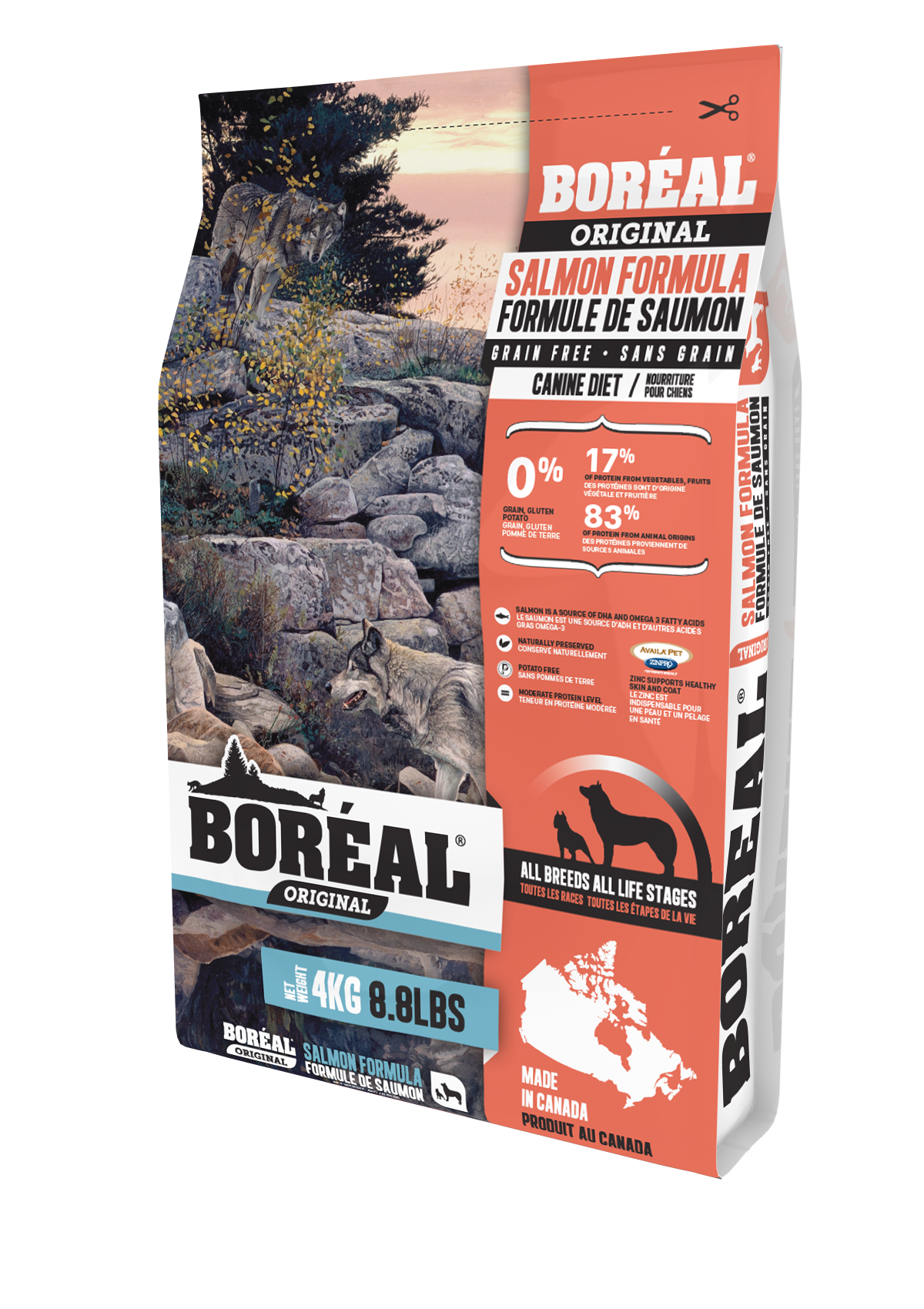 Boreal Original Salmon - Grain Free Dry Dog Food, 4kg bag