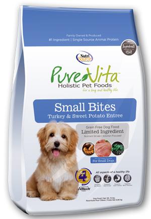 PureVita Small Bites Turkey & Sweet Potato Entrée Grain Free Dry Dog Food, 15-lb bag
