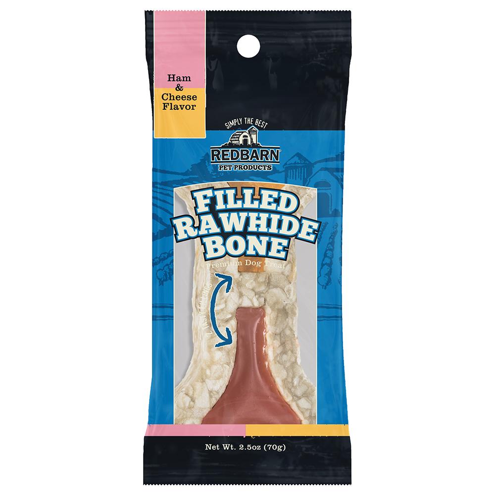 Redbarn Ham & Cheese Filled Rawhide Bone Dog Treats, Pack Of 24